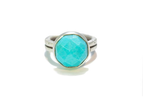 Jodi Rae Faceted Sleeping Beauty Turquoise Ring