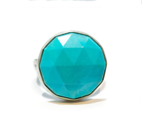 Jodi Rae XL Faceted Sleeping Beauty Turquoise Ring