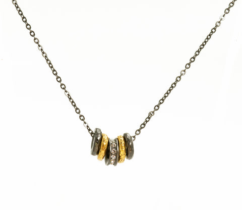 Rook & Crow High Five Necklace in Gunmetal and Gold