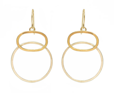 J&I Two-Tone Open Stacked Hoops