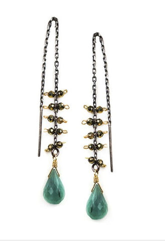 Calliope Emerald Threader Earrings