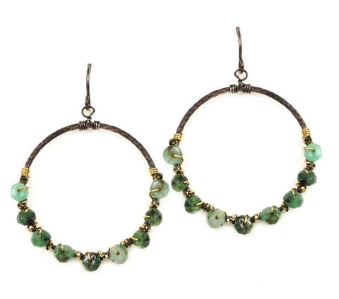 Calliope Emerald & Pyrite Wrapped Hoops