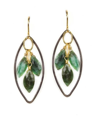 Calliope Faceted Emerald Drop Earrings