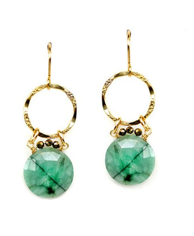 Calliope Emerald & Gold Earrings