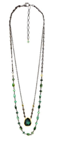 Calliope Double Strand Emerald Slice Necklace