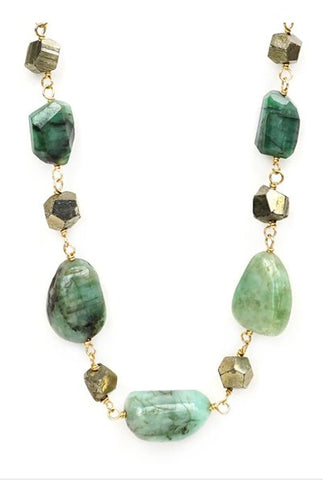 Calliope Raw Emerald & Pyrite Necklace