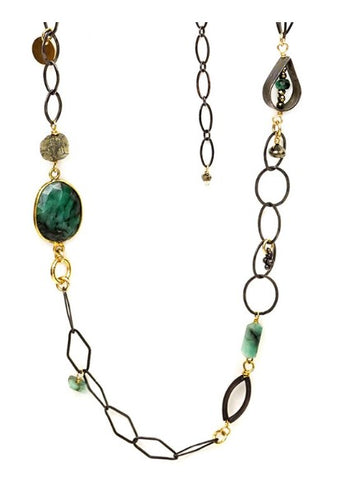 Calliope Long Necklace of Emeralds & Pyrite