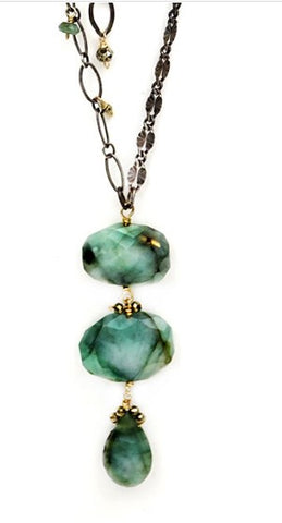 Calliope Long Necklace with Emerald Triple Drop