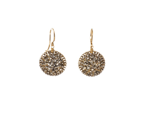 Dana Kellin Round Pyrite Drop Earrings