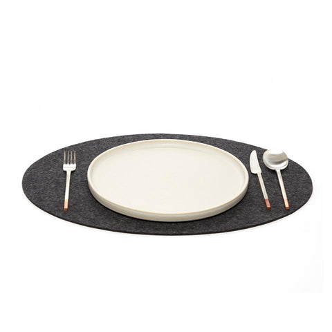 Oval Merino Wool Felt Placemat in Charcoal