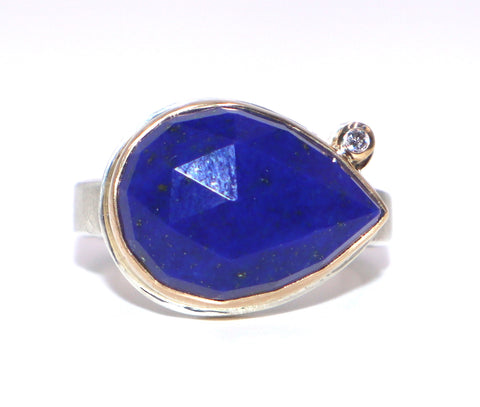 Jamie Joseph East-West Teardrop Lapis with Satellite Diamond Ring