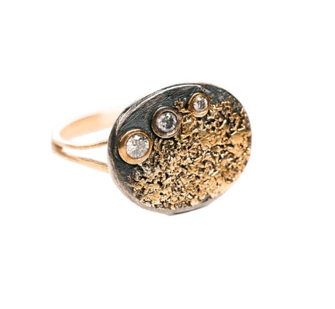 Kate Maller Dusted Signet Gold and Diamond Ring