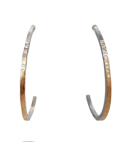 Kate Maller Large Hoop Dream Gold and Diamond Hoops