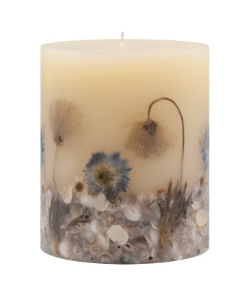 Rosy Rings Beach Daisy Pillar Candle