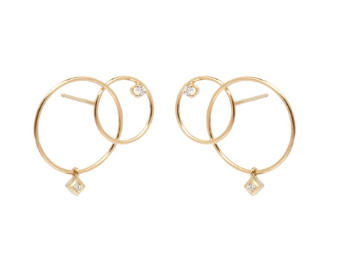 Zoe Chicco 14k Interlocking Mixed Cut Circle Post Earring