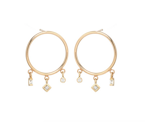 Zoe Chicco 14k Mixed Cut Post Hoops