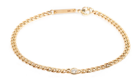 Zoe Chicco Curb Chain and Diamond Bracelet