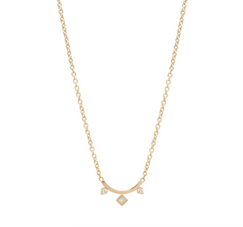 Zoe Chicco 14k Mixed Cut Curved Bar Necklace