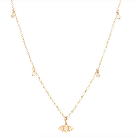 Zoe Chicco Diamond & 14K Gold Evil Eye Necklace