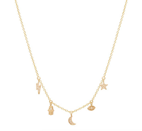 Zoe Chicco 14k Diamond Celestial Charm Necklace