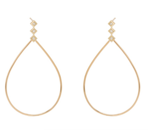 Zoe Chicco Statement Teardrop Princess Bezel Hoops