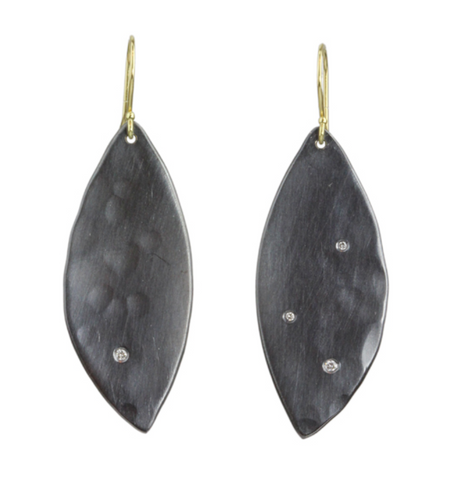 Sarah McGuire Large Diamond Oxidized Petal Earring