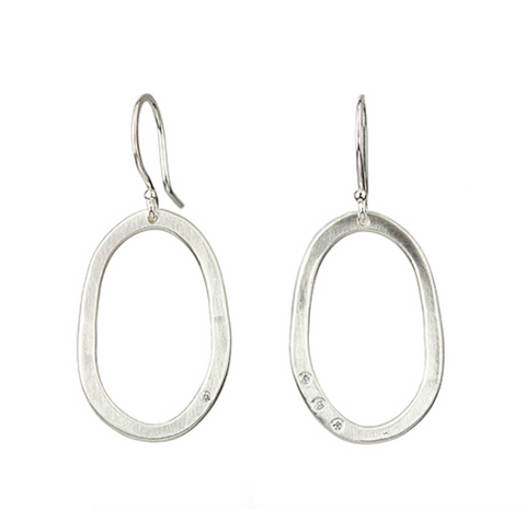 Sarah McGuire Small Diamond Pebble Earrings