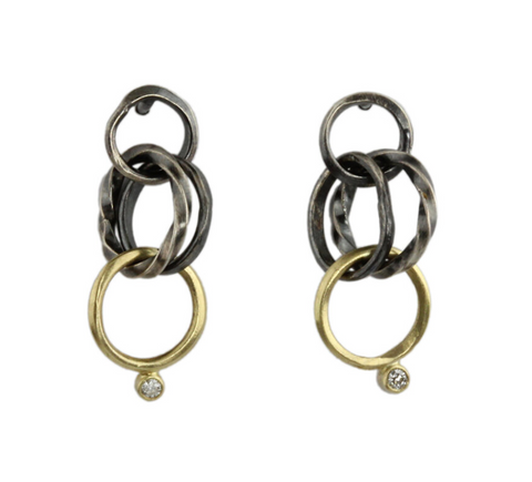 Sarah McGuire 2-Tone Wrought Link Post Earrings
