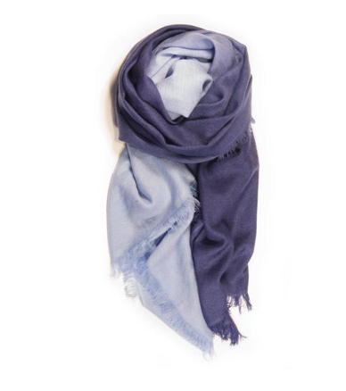 Fig & Bella Cashmere Scarf - Blue Dipped