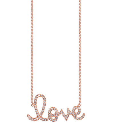 Sydney Evan Extra Large Rose Gold & Diamond Love Necklace