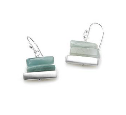 Philippa Roberts Aquamarine Stacked Earring - Silver