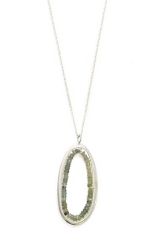 Philippa Roberts Moss Aqua Oval Necklace