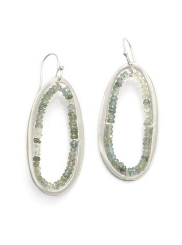 Philippa Roberts Moss Aqua Oval Earrings