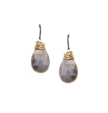 Calliope Wire-Wrapped Grey Moonstone Earring