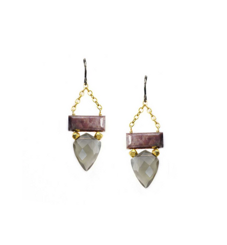Calliope Chocolate & Grey Moonstone Drop Earring