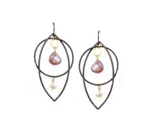 Calliope Chocolate Moonstone Mobile Earring