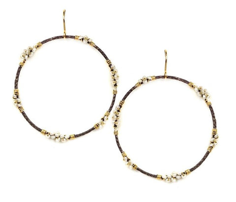 Calliope Hoop Earrings Wrapped with Tiny Pearls