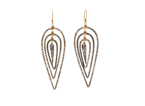 Dana Kellin Fine Triple Upside-Down Pave Teardrop Earring