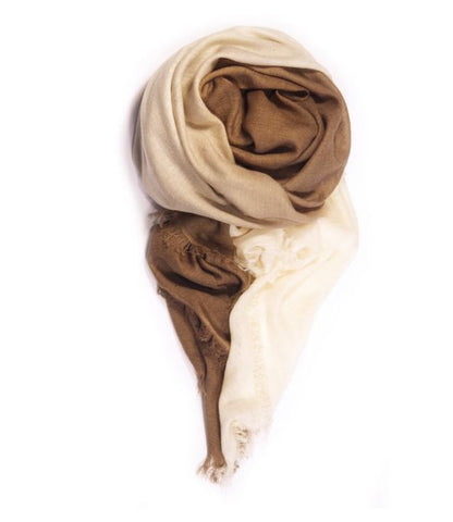 Fig & Bella Cashmere Scarf - Beige Dipped