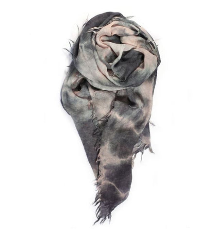 Fig & Bella Cashmere Scarf - Charcoal/Light Pink Crushed