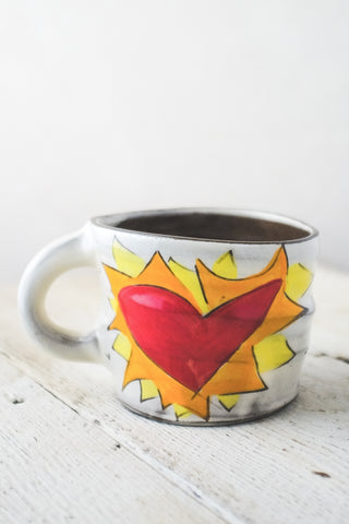 Hot Flaming Heart Mug