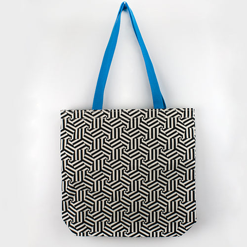 Hexagon Blue Handle Tote Bag