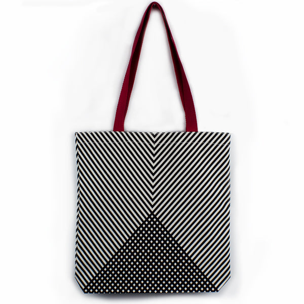Chevron Red Handle Tote Bag