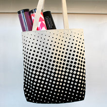 Halftone White Handle Tote Bag
