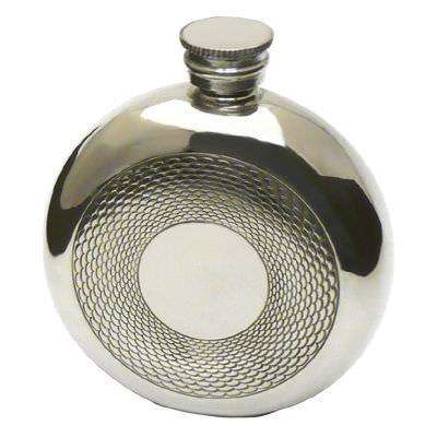 Glassware and Accessories Hip flask, pewter, round Engine turned, 6oz