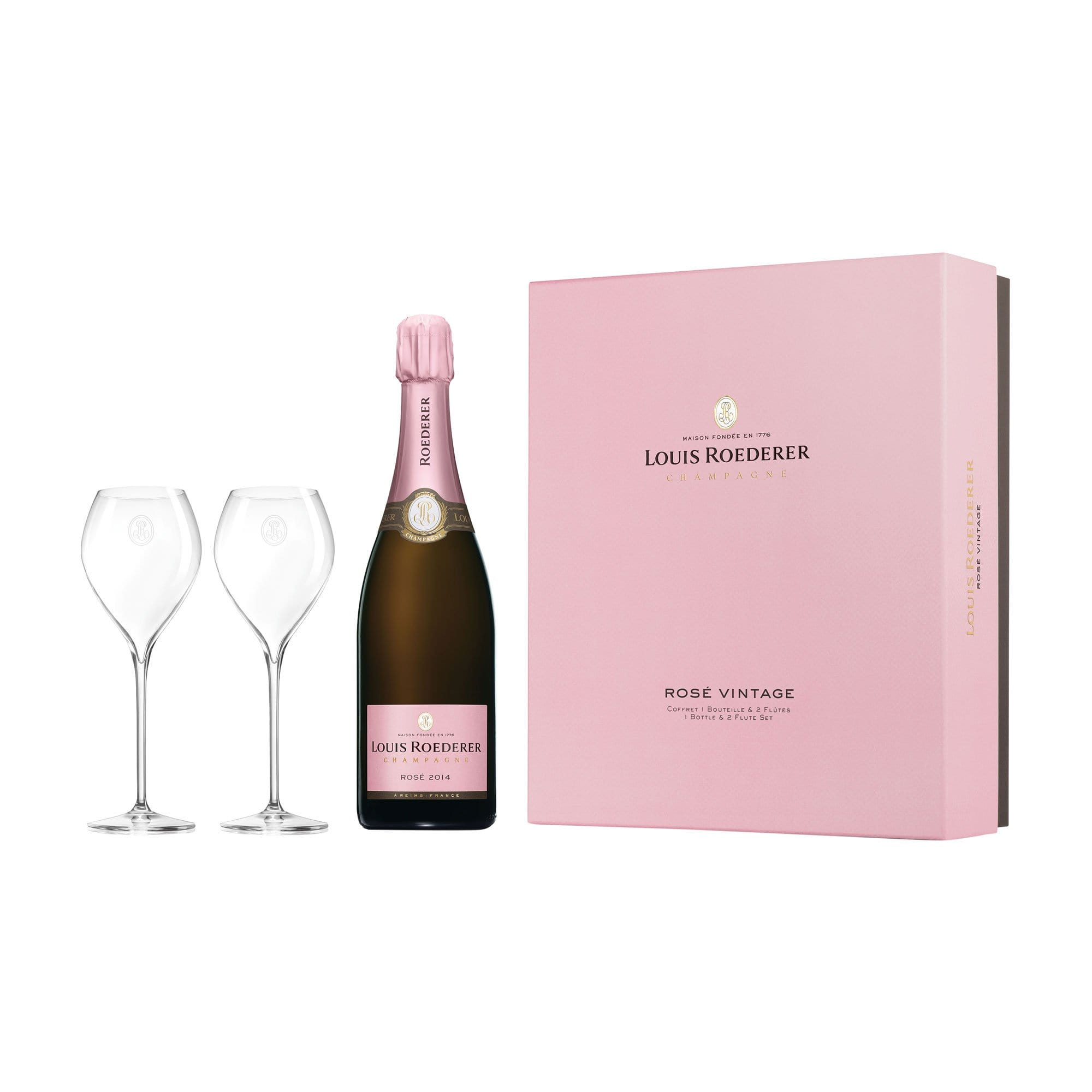 Sparkling Louis Roederer Rosé 2014 & 2 Champagne Glasses (Gift Box)