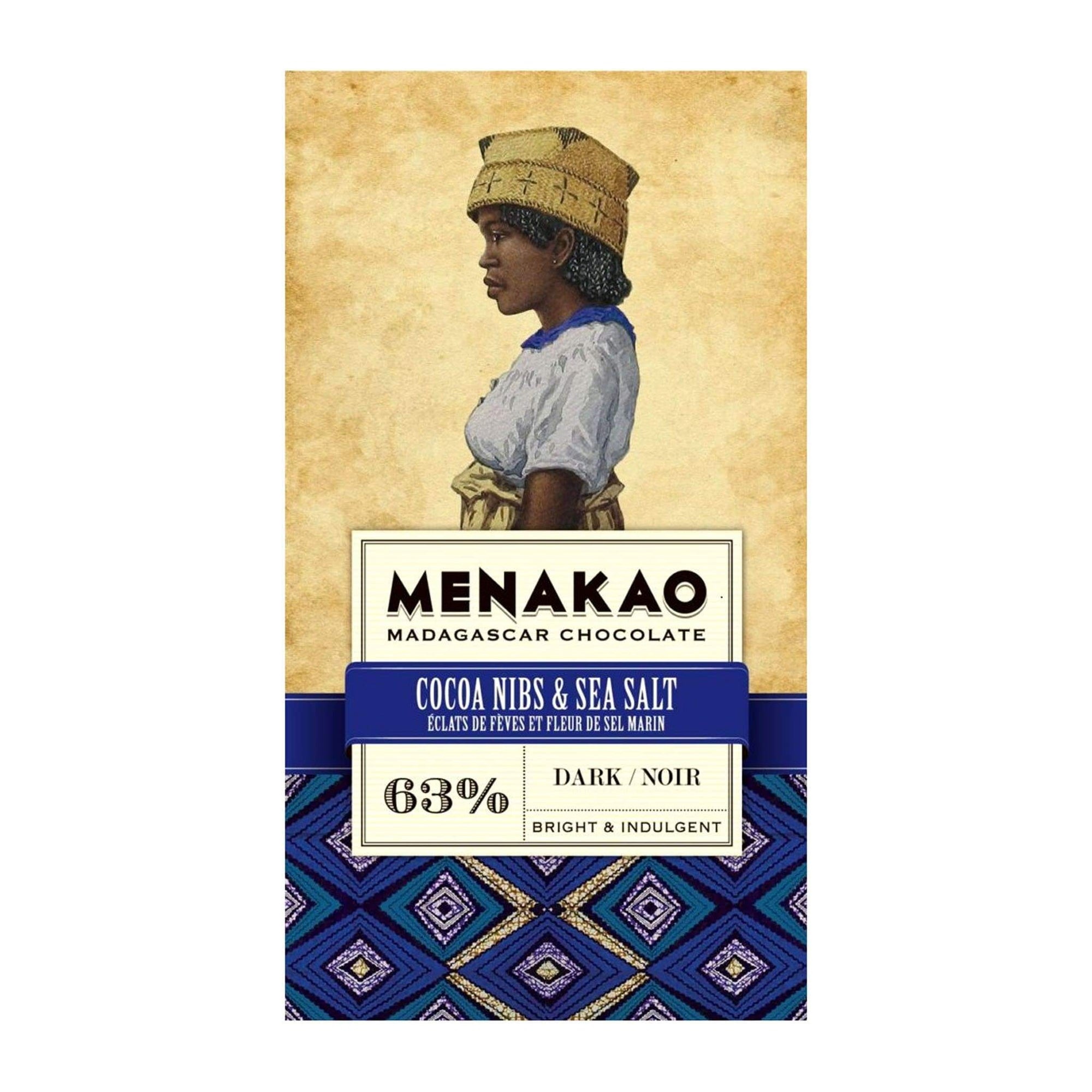 Food Menakao Dark Chocolate Cocoa Nibs and Sea Salt