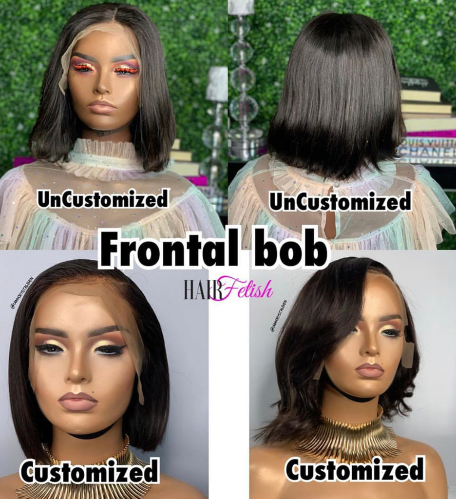 10 -inch frontal with two 8 inch bundles machine made wig, made with Brazilian straight