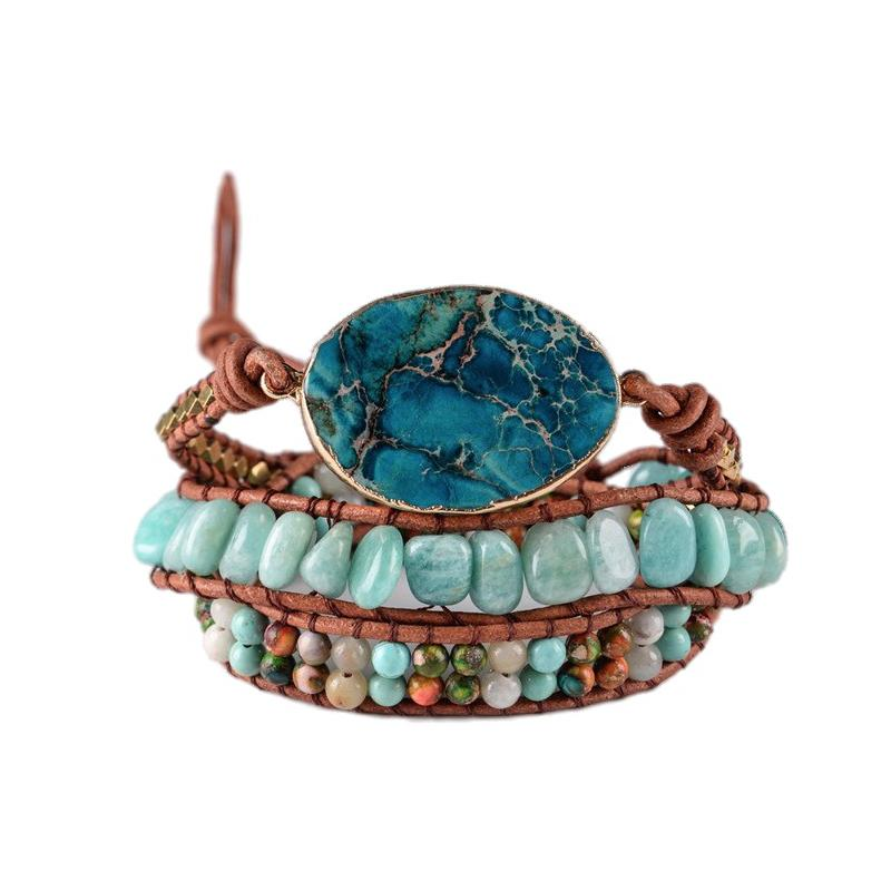 Amazonite & Jasper Leather Wrap Bracelet