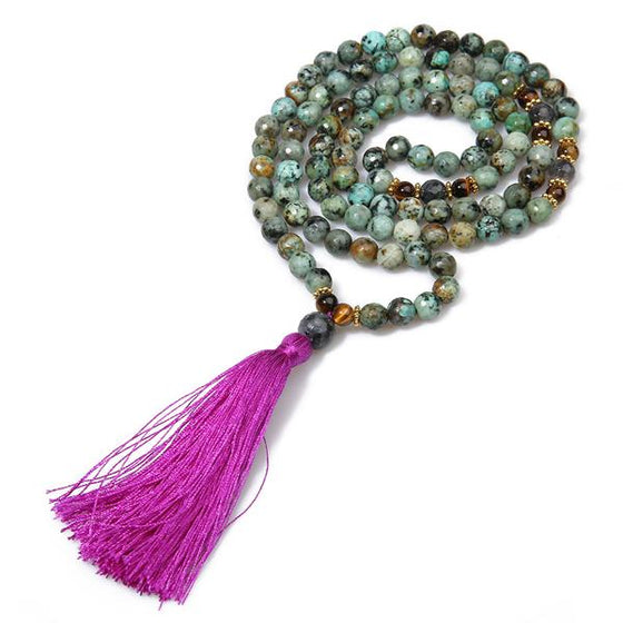Green Stone Tassel Necklace